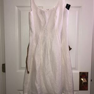 Nine West white fit and flare dress with belt